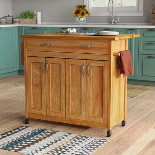 Winston Porter Lapithos Kitchen Island With Wood Top Reviews