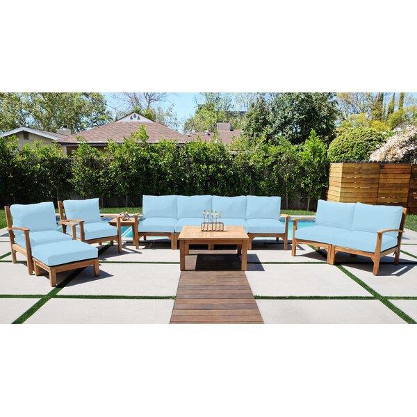 Crescio 11 Piece Teak Sofa Seating Group with Sunbrella Cushions by Foundry Select