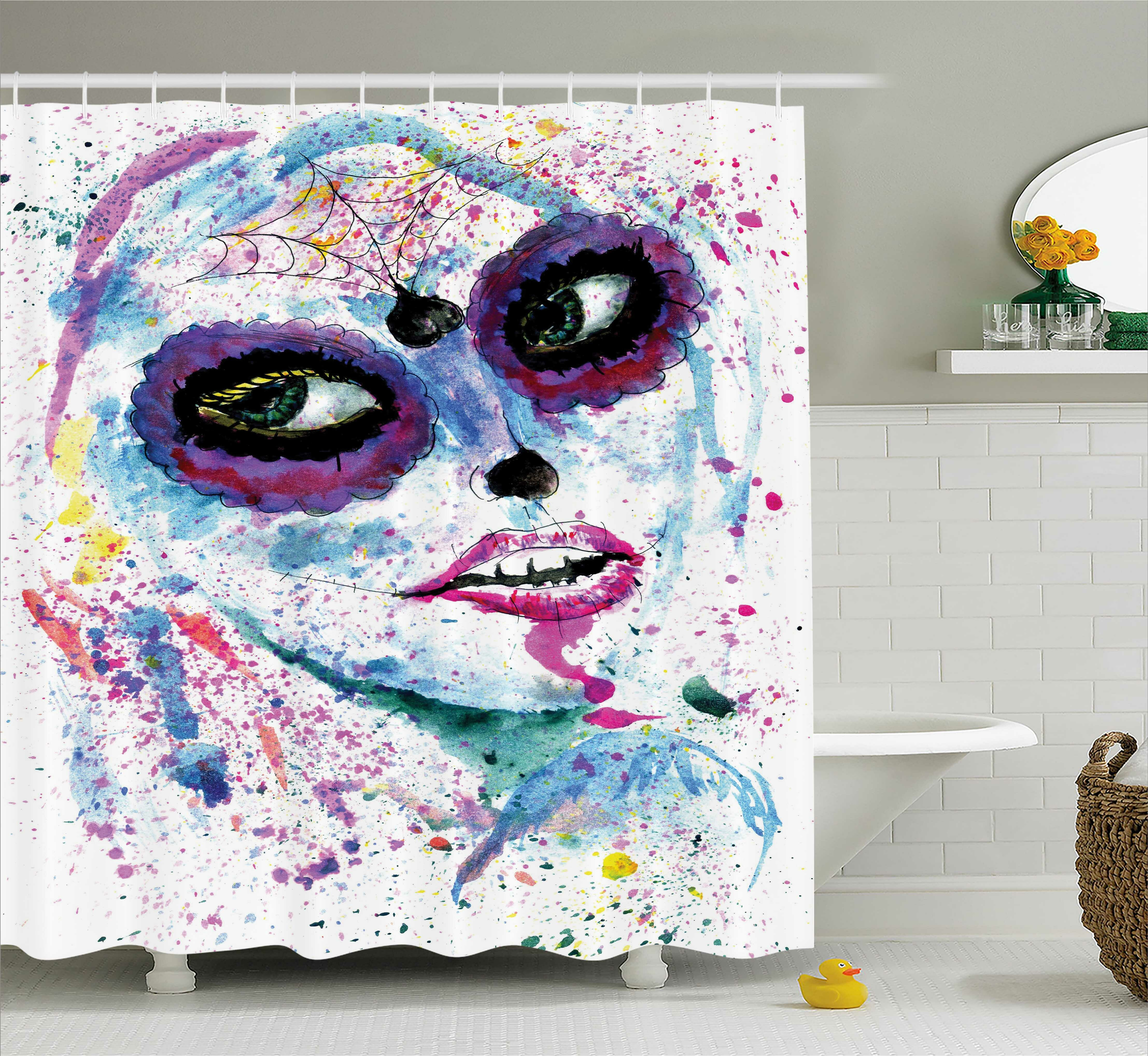 East Urban Home Girly Grunge Halloween Lady With Sugar Skull Make Up Creepy Dead Face Gothic Print Shower Curtain