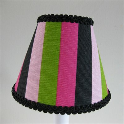 Wild Streak 7 H Fabric Empire Lamp shade ( Screw on ) in Pink/Green/Black
