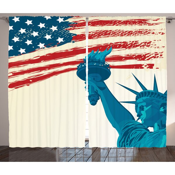 Statue of Liberty Decor Graphic Print Room Darkening Rod Pocket Curtain Panels (Set of 2) by East Urban Home