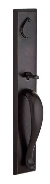 Longview Single Cylinder Handleset with Rustic Door Knob and Rustic Square Rose with Smartkey by Baldwin