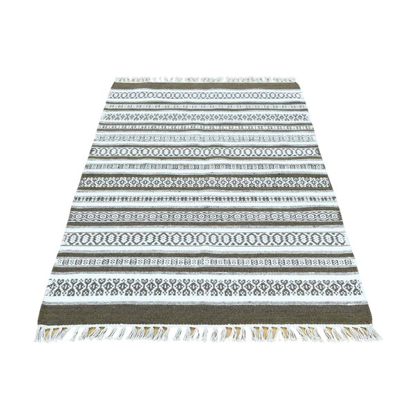 Striped Durie Kilim Flat Weave Hand-Knotted Ivory/Chocolate Brown Area Rug by Bloomsbury Market