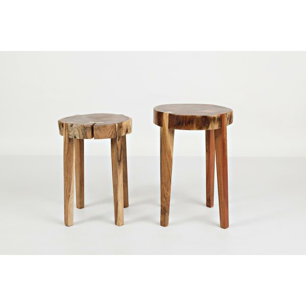Thaney Wooden Round 2 Piece End Table Set By Union Rustic