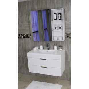 Compare prices Shawn 30 Wall-Mounted Single Bathroom Vanity Set with Mirror ByWrought Studio