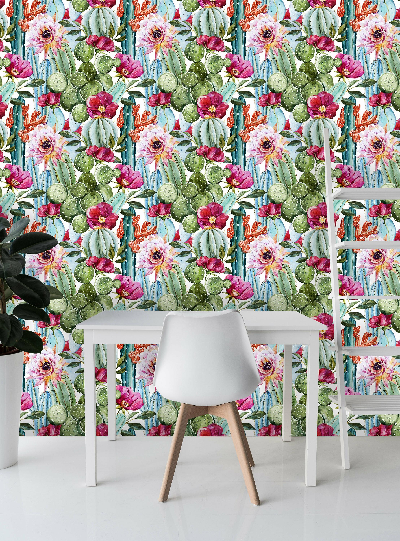 Bungalow Rose Lyle Removable Cactus Flowers Watercolor 10 L X 120