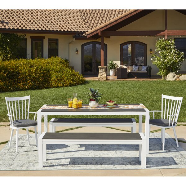 Chenery 5 Piece Indoor/Outdoor Dining Set with Cushions by Alcott Hill