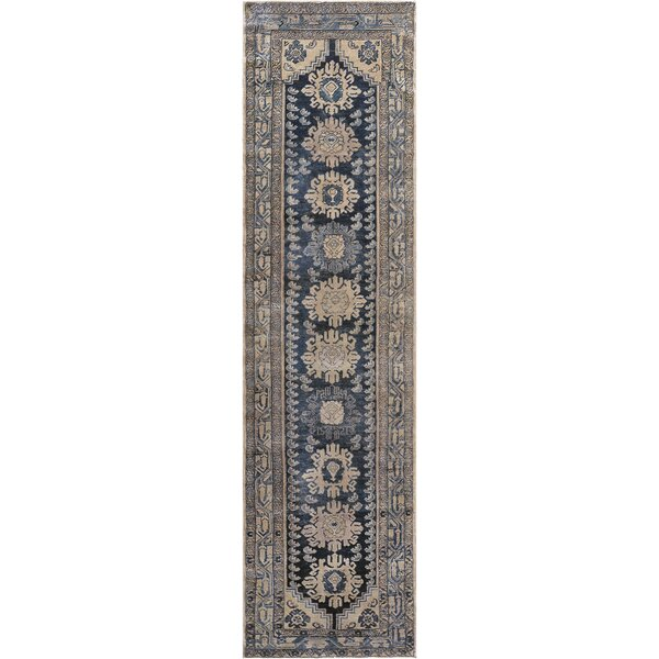 One-of-a-Kind Antique Malayer Handwoven Wool Beige/Blue Indoor Area Rug by Mansour