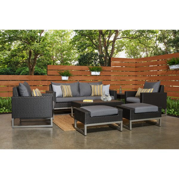 Minor 7 Piece Rattan Sofa Seating Group With Cushions By Wade Logan