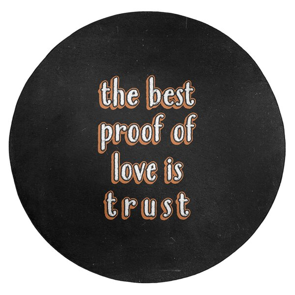 Love & Trust Quote Chalkboard Style Poly Chenille Rug