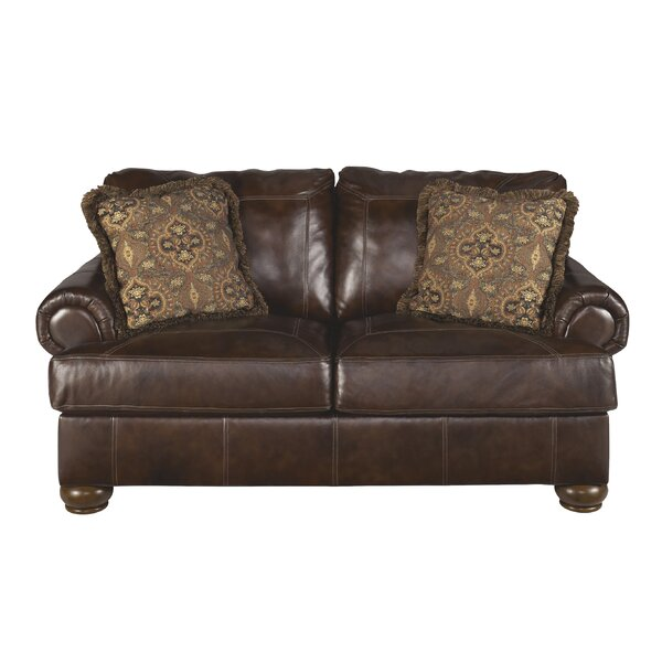 Stewartsville Leather Loveseat by Fleur De Lis Living