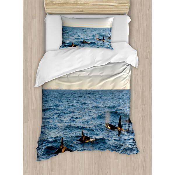 Whale A Real Photo Image coming out of the Sea Artwork Duvet Set by Ambesonne