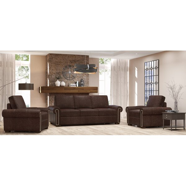 Burke 3 Piece Leather Living Room Set by Westland and Birch