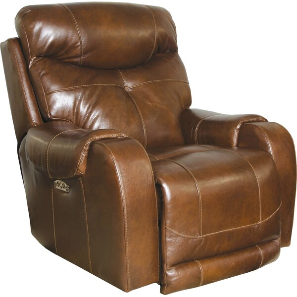 Vidette Lay Flat Leather Power Recliner Red Barrel Studio W001960600