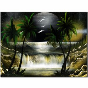 'Moon Over the Waterfall III' by Conrad Graphic Art on Canvas by Trademark Fine Art