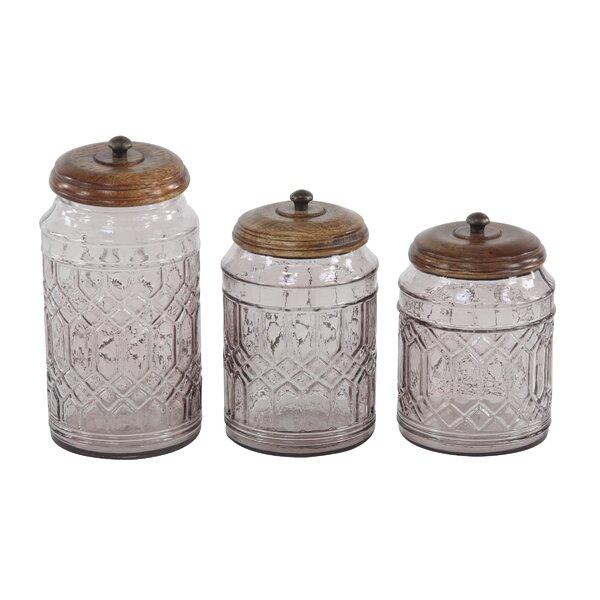 Vicknair Round Textured Glass 3 Piece Storage Jar Set by Ophelia & Co.