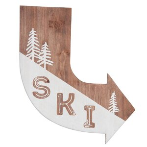 'SKI' Arrow Graphic Art Print on Wood by Foreside Home & Garden