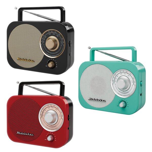 Retro Portable AM/FM Desktop Radio by Studebaker