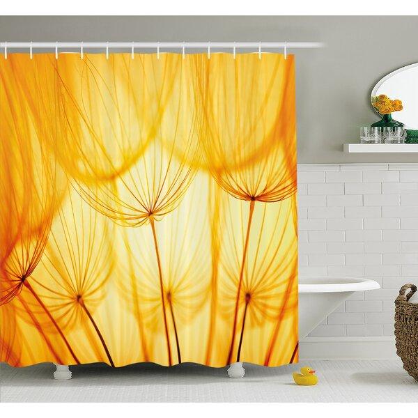 Joy of Dandelion Flower Garden Seeds in Hot Summer Time Themed Artwork Shower Curtain Set by Ambesonne