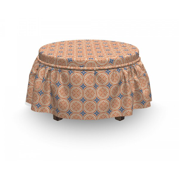 Traditional Floral Motif And Stars 2 Piece Box Cushion Ottoman Slipcover Set By East Urban Home