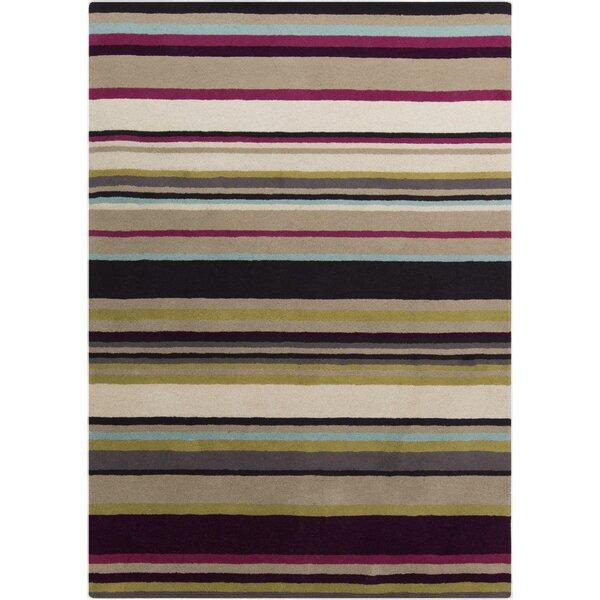 Harlequin Hand-Tufted Dark Purple/Olive Stripes Area Rug by Harlequin