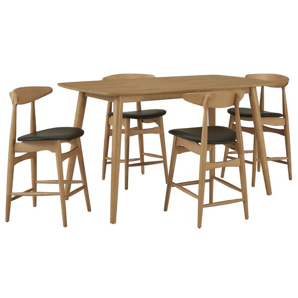 Bufford 5 Piece Counter Height Solid Wood Dining Set by George Oliver