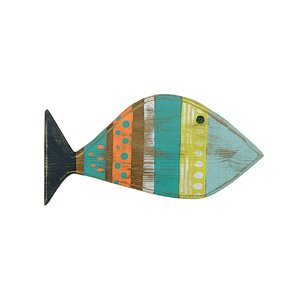 Reclaimed Wood Hand Painted Fish Wall Décor