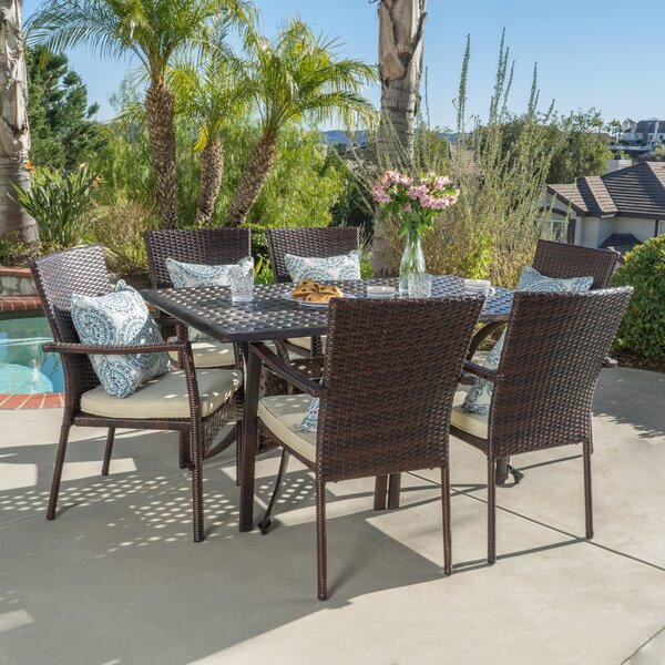 Edgewater Outdoor 7 Piece Dining Set with Cushions by Bay Isle Home