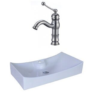 Price Check Ceramic Rectangular Vessel Bathroom Sink with Faucet and Overflow ByAmerican Imaginations