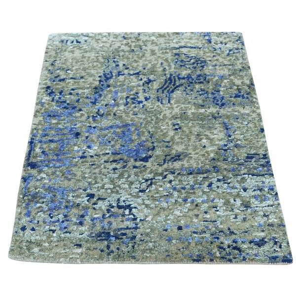 One-of-a-Kind Hi and Lo Abstract Hand-Knotted Denim Blue/Beige Area Rug by Williston Forge