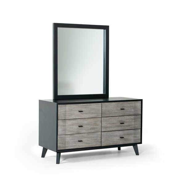 Crowborough Contemporary 6 Drawer Double Dresser with Mirror by Corrigan Studio