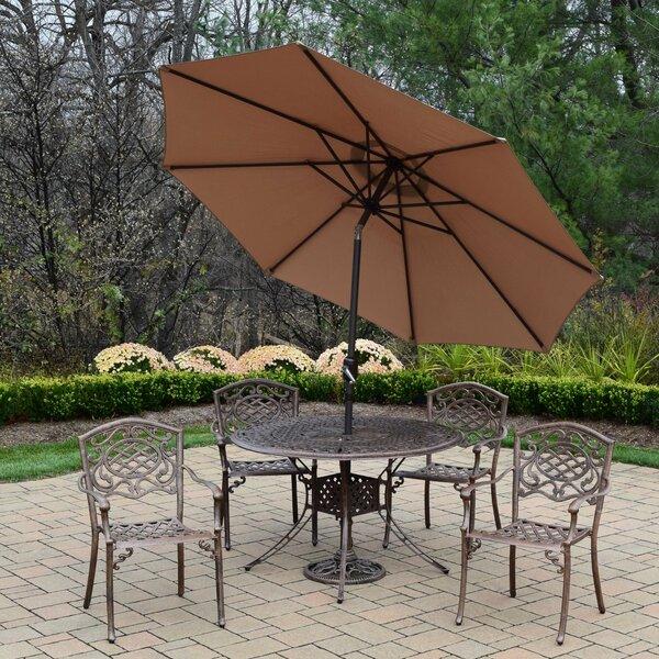 Capitol Mississippi 5 Piece Dining Set with Umbrella