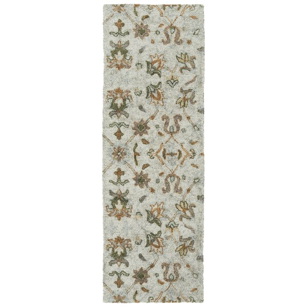 Elledge Hand-Tufted Silver/Green Indoor/Outdoor Area Rug by Charlton Home