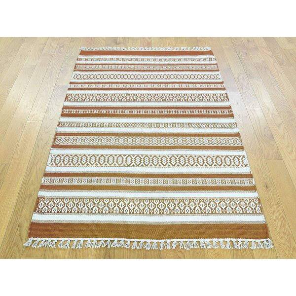 One-of-a-Kind Bedelia Reversible Striped Handmade Kilim Wool Area Rug by Isabelline
