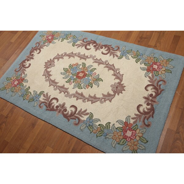 One-of-a-Kind Horwath Aubusson Hand-Knotted Wool Blue/Beige Area Rug by August Grove