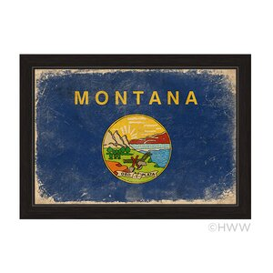 State of Montana Flag Framed Painting Print by Click Wall Art