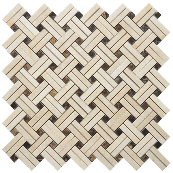 Knot Random Patch Sized Marble Mosaic Tile in Yellow/Brown by Matrix Stone USA