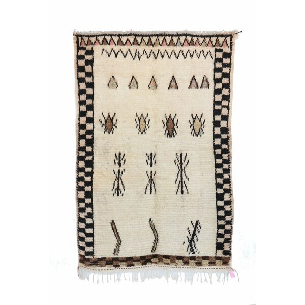 Azilal Vintage Moroccan Hand Knotted Wool Beige/Black Area Rug by Indigo&Lavender