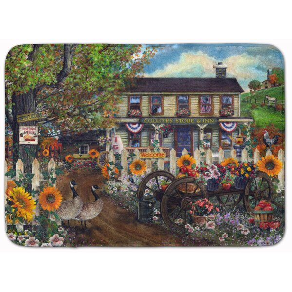 Sunflowers and The Old Country Store Rectangle Microfiber Non-Slip Floral Bath Rug