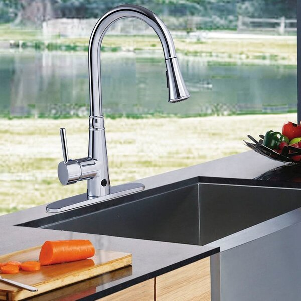 Pull Down Touchless Single Handle Kitchen Faucet with with Side Spray and Soap Dispenser