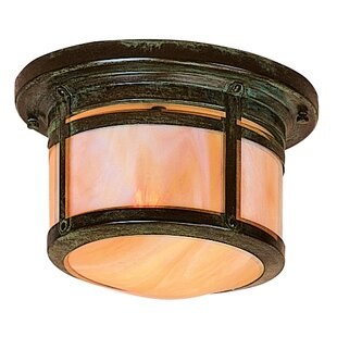 Read Reviews Berkeley 1-Light Outdoor Flush Mount By Arroyo Craftsman