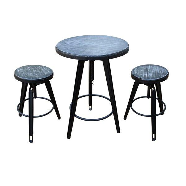 Dibble 3 Piece Adjustable Pub Table Set by Ebern Designs