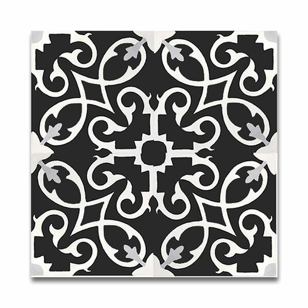 Agadir 8 X 8 Handmade Cement Tile in Black/White by Moroccan Mosaic