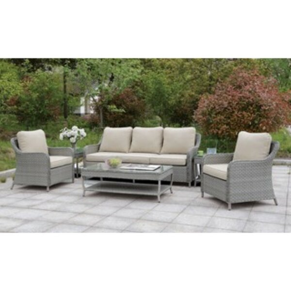 Newberg 6 Piece Rattan Sofa Seating Group with Cushions by Charlton Home