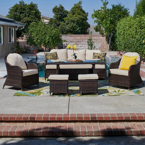 Ferndown 6 Piece Rattan Sofa Seating Group with Cushions by August Grove