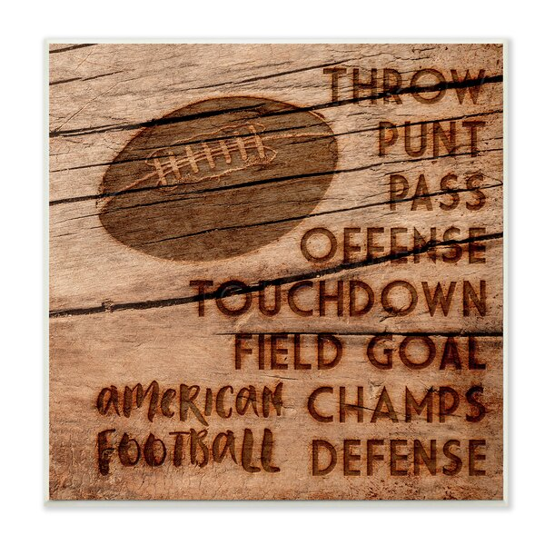 Football Planked Wood Look Wall Plaque by Stupell Industries