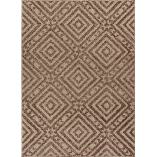 Dorado Metier Modern Geometric/Trellis High-Low Beige Indoor/Outdoor Area Rug by Well Woven