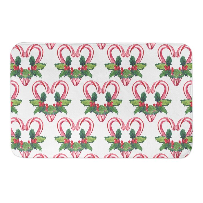 Grajeda Candy Cane Pattern Rectangle Non-Slip Floral Bath Rug