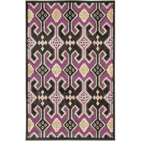 Saint-Michel Anthracite/Fuchisa Area Rug by Bungalow Rose