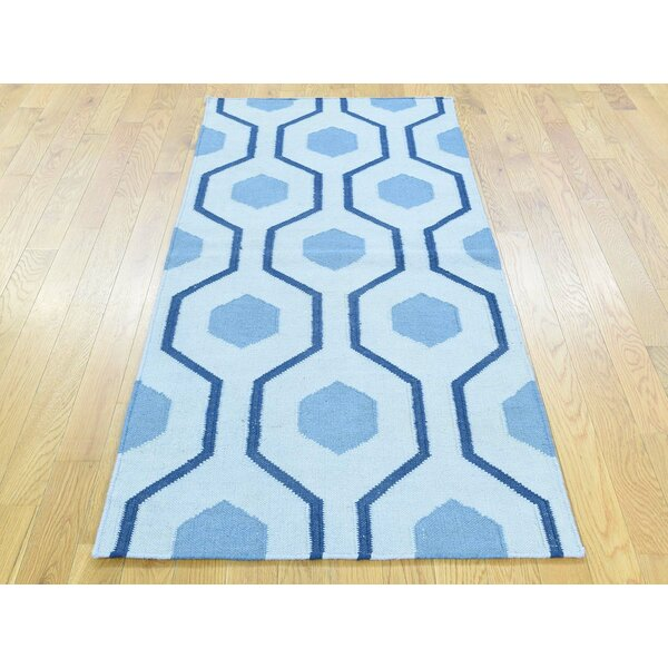 One-of-a-Kind Brashears Reversible Handmade Kilim Blue Wool Area Rug by Isabelline